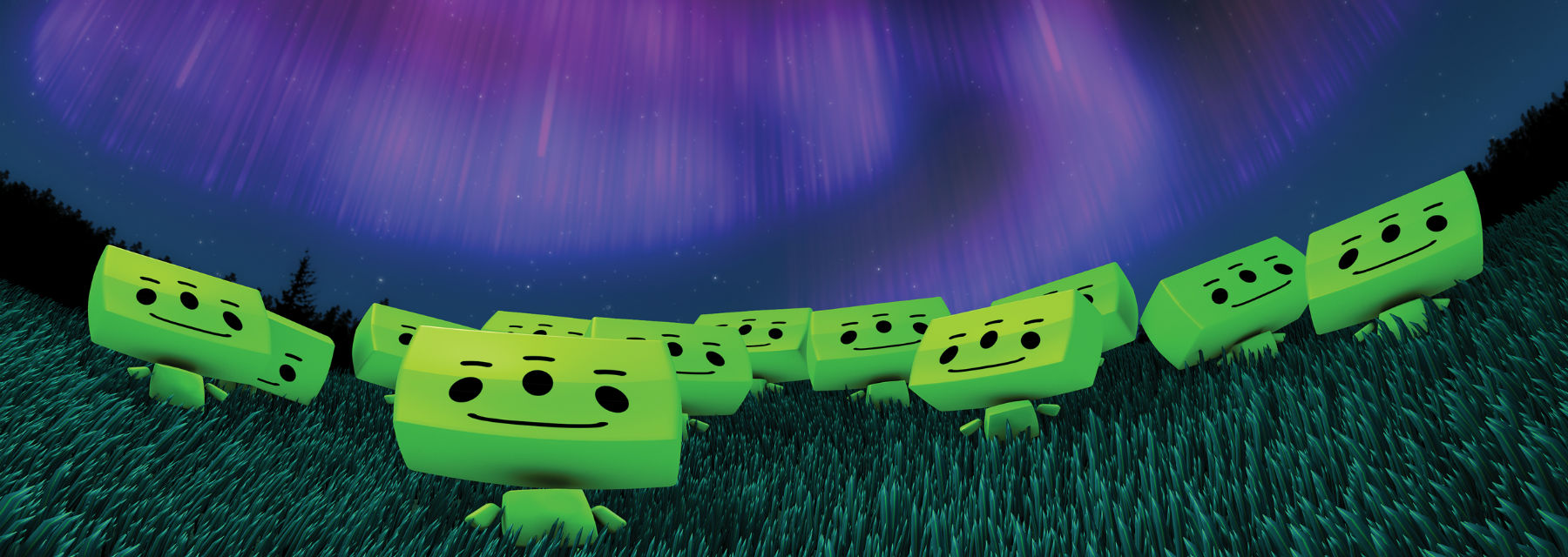 Green aliens look up into space. Image: 'We Are Aliens' fulldome film - NSC Creative