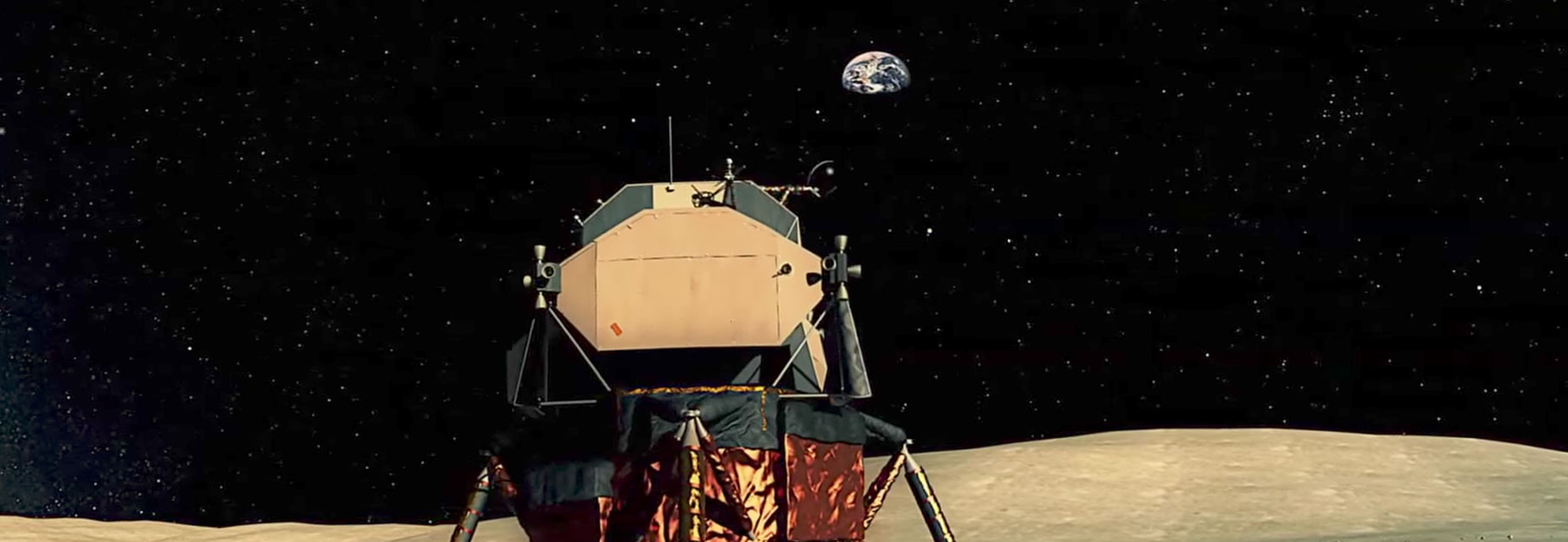 A computer generated image of the lunar lander spacecraft looking out from the surface of the moon towards the earth