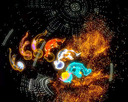 An image from our fulldome planetarium show 'Cell Cell Cell' with brightly coloured visualisations of human development