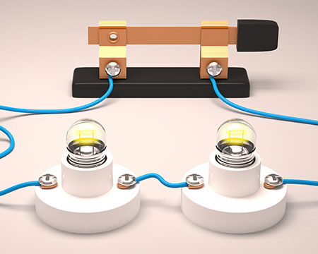 A simple electrical circuit with a battery, two lights and a switch