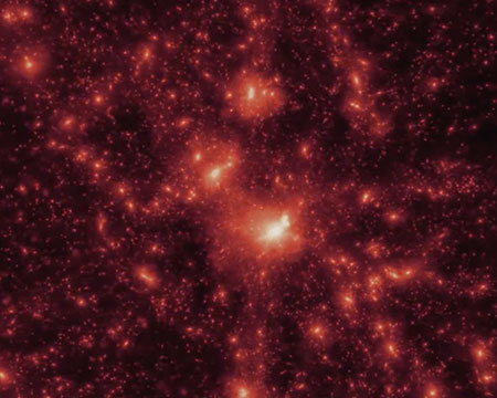 A still from the Hidden Universe 3D Imax film, showing bright red stars in space