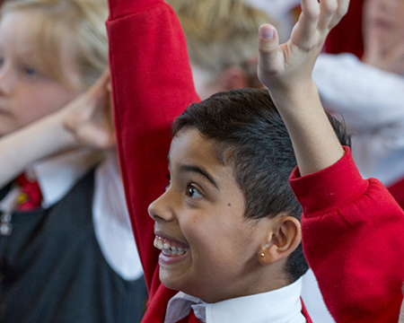 Enthusiastic primary school pupils take part in a BodyWorks on Tour Workshop