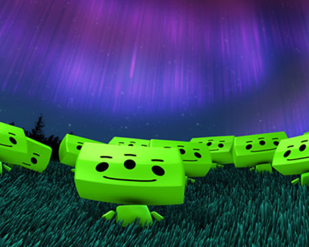 Image from our fulldome planetarium show 'We Are Aliens' depicting bright green aliens on grass looking up at a purple sky