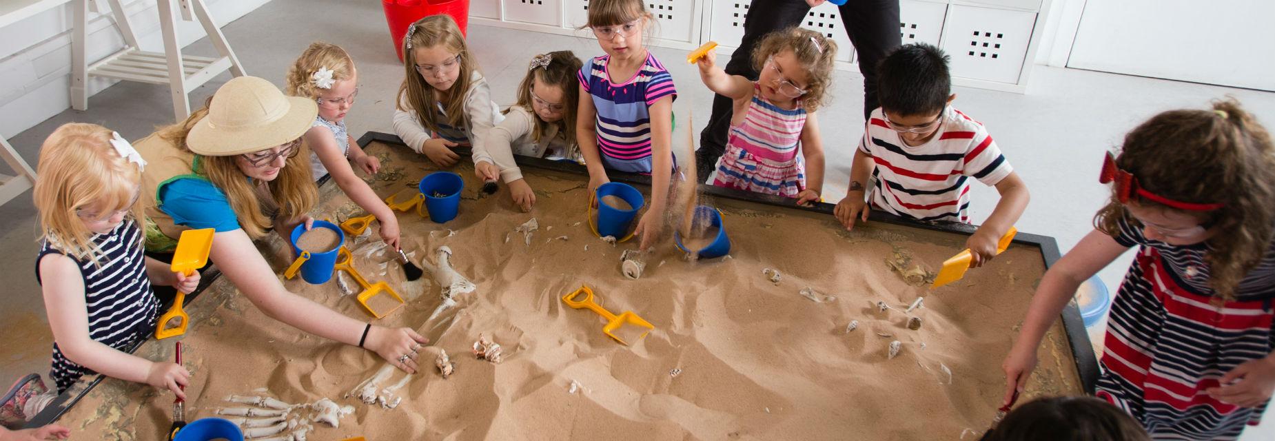 Boys and girls dig for dinosaurs