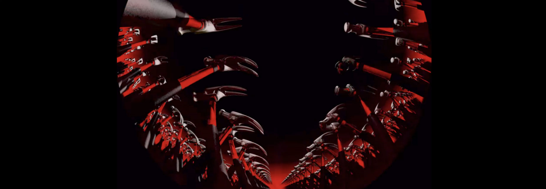 Visuals of red hammers taken from the film