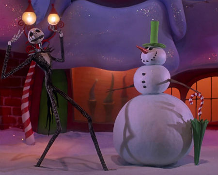 Jack Skellington singing to the Snowman