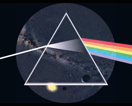 Prism with rainbow inspired by Pink Floyd