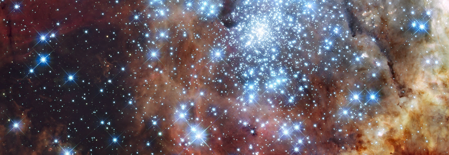 NASA image taken by the Hubble telescope of two star clusters