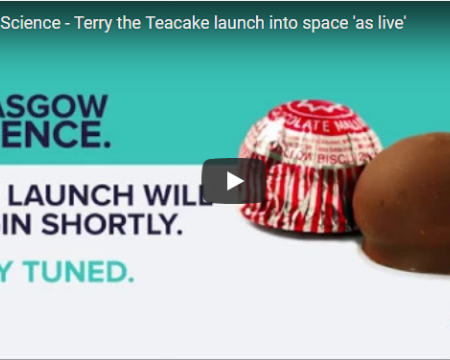 Glasgow Science test whether or not you can send a teacake into space. Terry the Teacake proves that it is possible, as he lifts off from Glasgow and travels for over 2 hours into space.
