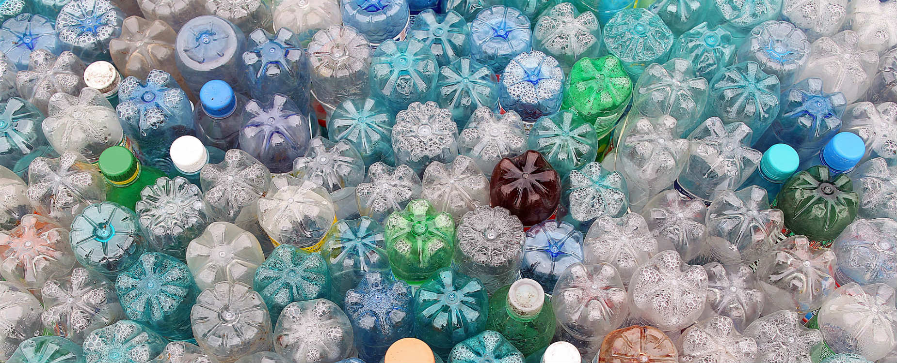 An assortment of plastic bottles packed together upside down.