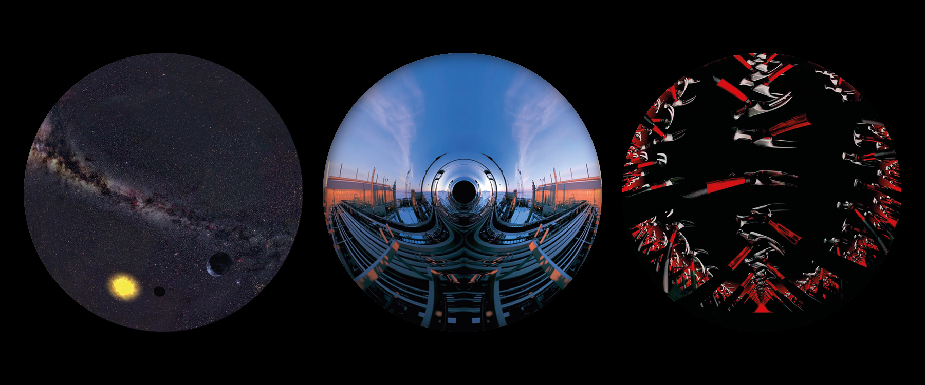 Three circular images showing stills from experiences inspired by Pink Floyd. The first shows a galaxy, the second a blue sky above a semi-industrial landscape, and the third an array of hammers.