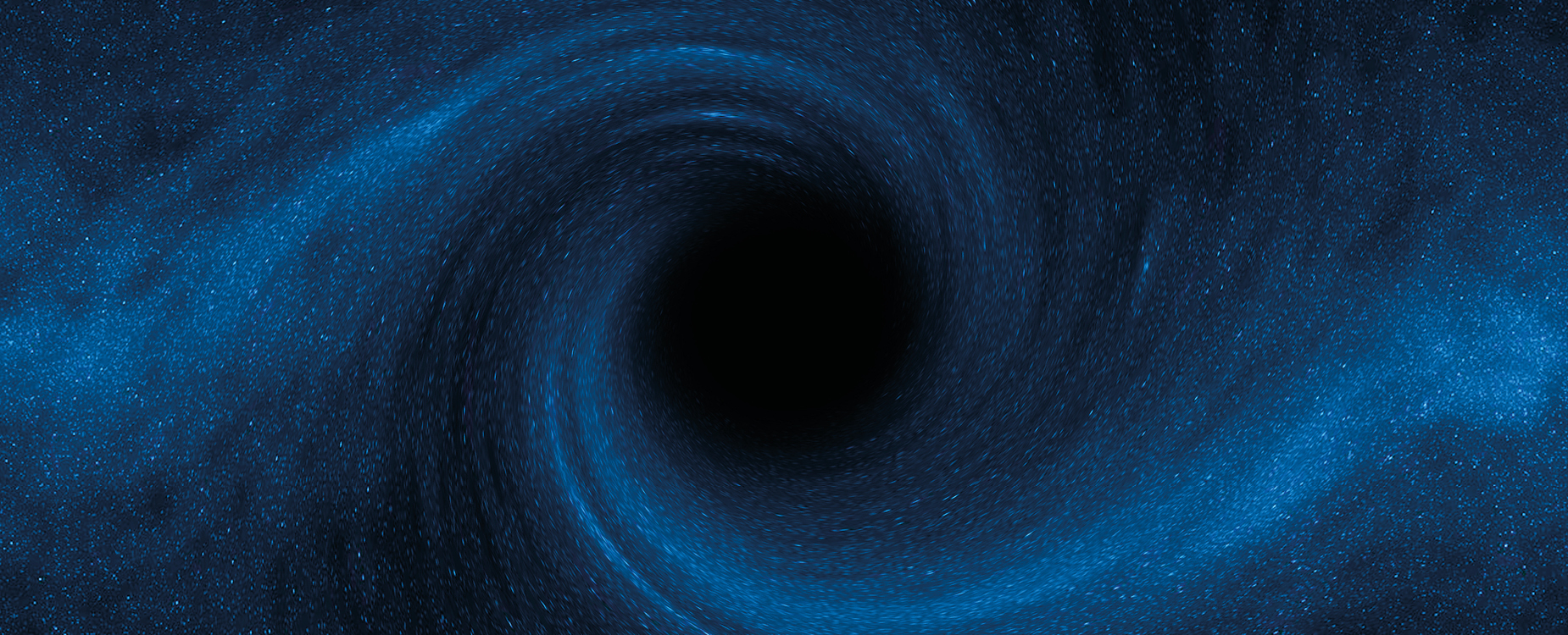 The light from stars bending around a black hole