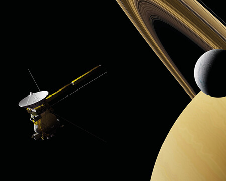 Saturn, Europa and the Cassini probe