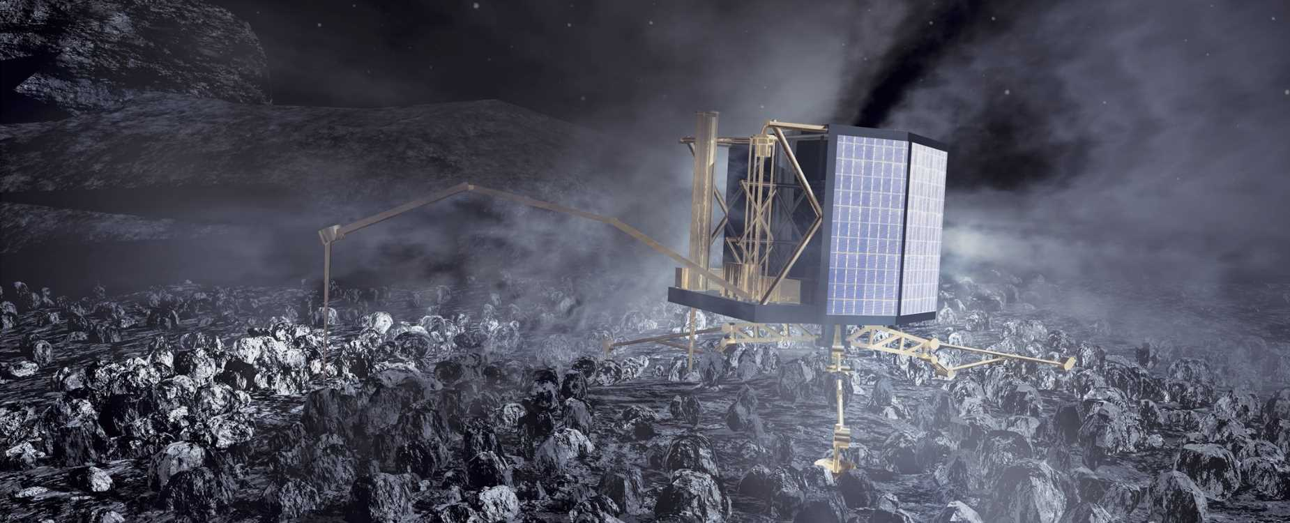 The Philae lander at work on Comet 67P/Churyumov-Gerasimenko. Image: ESA / AOES Medialab