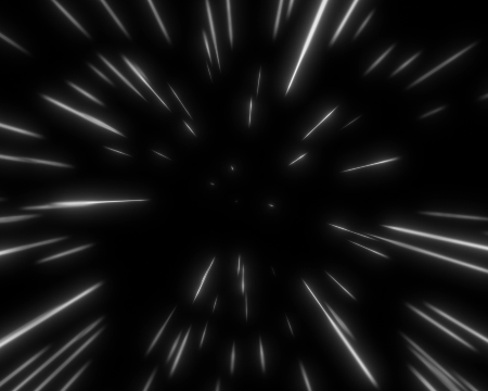Graphic representation of space tunnel featuring white starburst lines