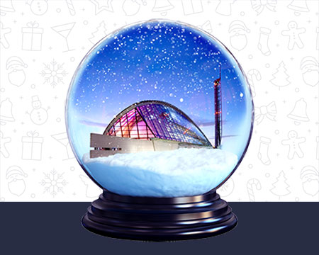 A snow globe containing Glasgow Science Centre