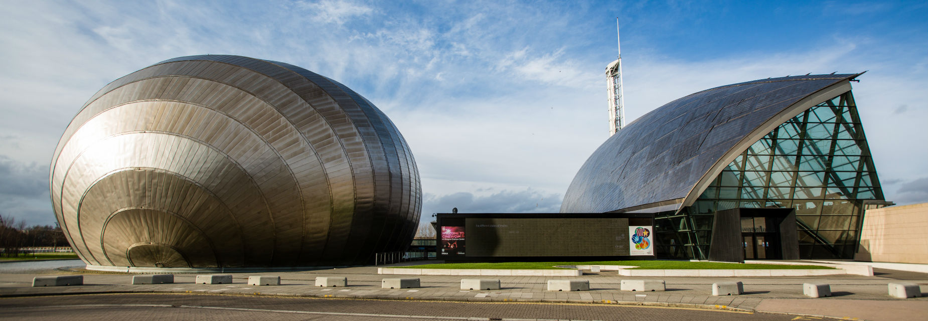 A view from outside of Glasgow Science Centre