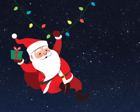 Illustrated Santa Claus hangs from a string of lights in front of an image of the night sky