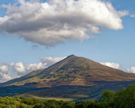 Clouds over the peak of Schiehallion (3554 ft) Viewed from Kinloch Rannoch, Perth & Kinross, Scotland