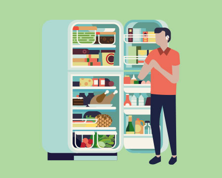 Illustration of person looking in fridge on green background