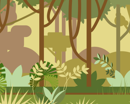 Illustration of green environment full of with trees and bushes