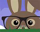 An illustrated rabbit wearing spectacles