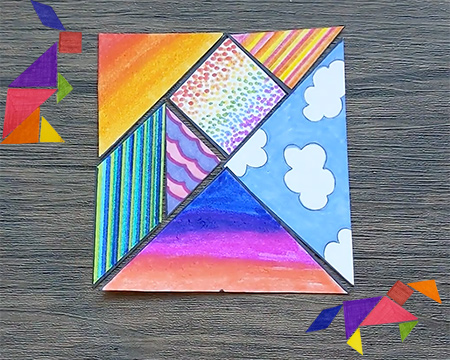 A colourful tangram and examples of animals made with the shapes