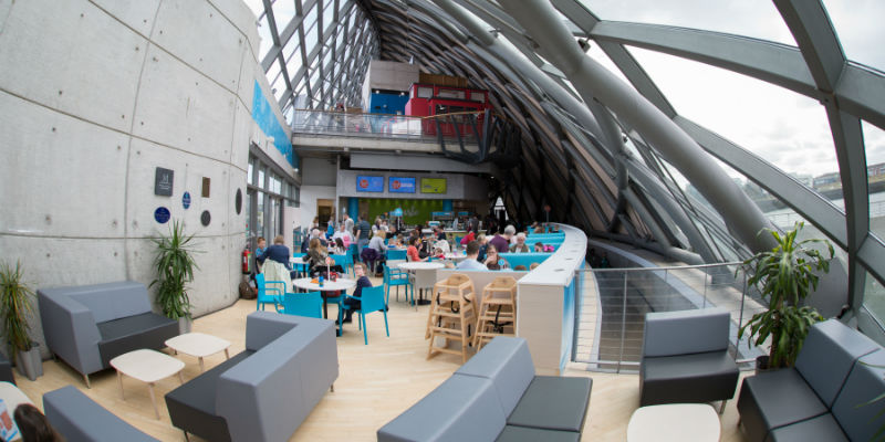 A view of the light and airy Taste Cafe seating area at Glasgow Science Centre