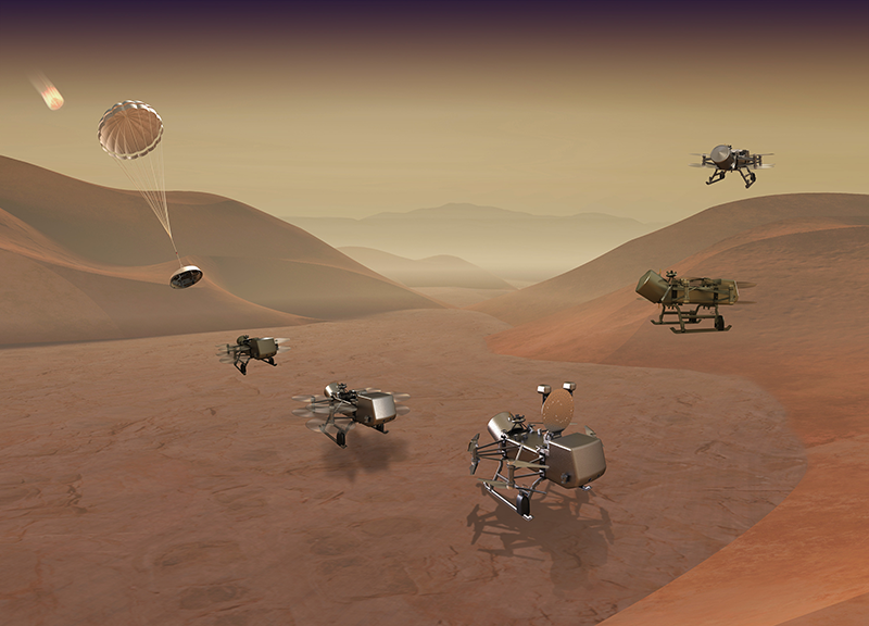 Dragonfly mission concept of entry, descent, landing, surface operations, and flight at Titan. IMAGE CREDIT: JOHNS HOPKINS APL