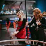Exploring the interactive exhibits with a Christmas cocktail in hand