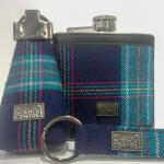 GSC tartan covered hip flasks,  key pounches and key rings. Designed by Slanj - Every one is unique!